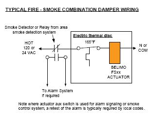 wiring fire and smoke damper actuator