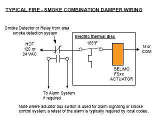 wiring fire and smoke damper actuator