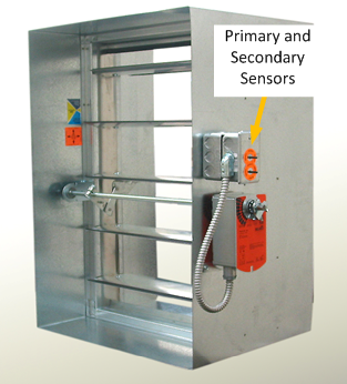 Smoke control system damper with sensors